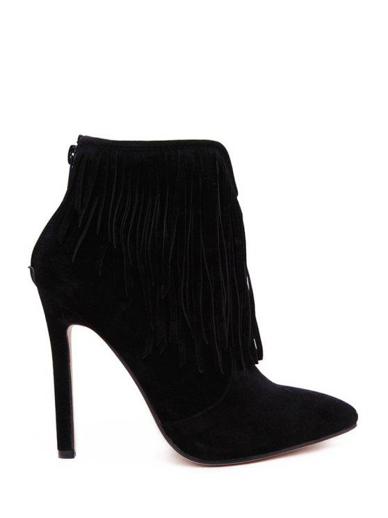 online Fringe Solid Color Pointed Toe Short Boots - BLACK 35