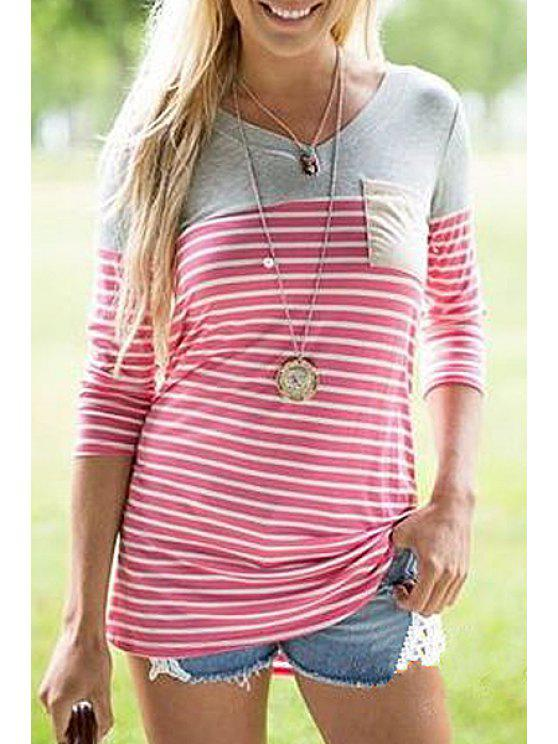 shops Patchwork Pocket Striped T-Shirt - RED S