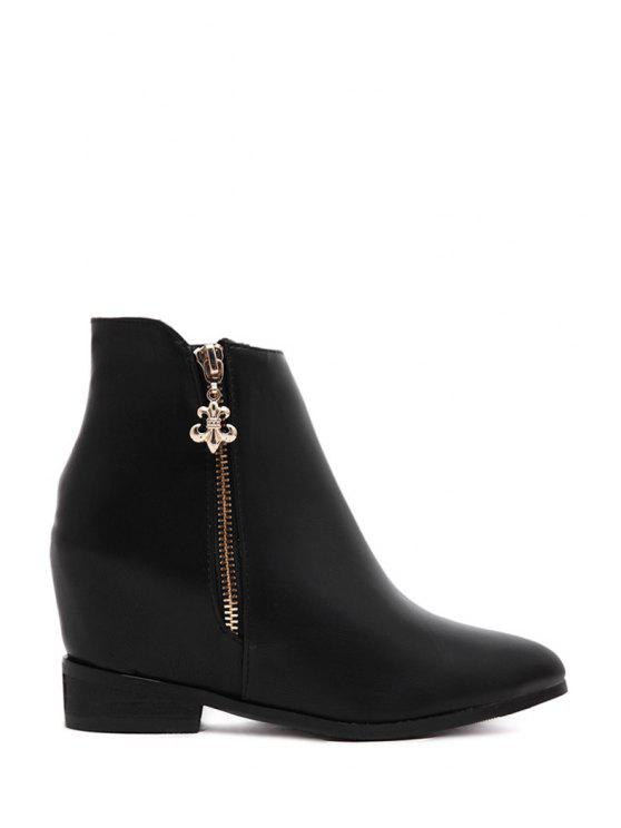 outfit Solid Color Zipper Pointed Toe Short Boots - BLACK 35