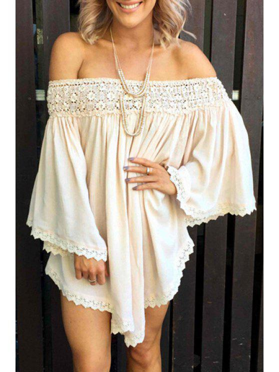 best Lace Spliced Off The Shoulder Long Sleeve Dress - WHITE S