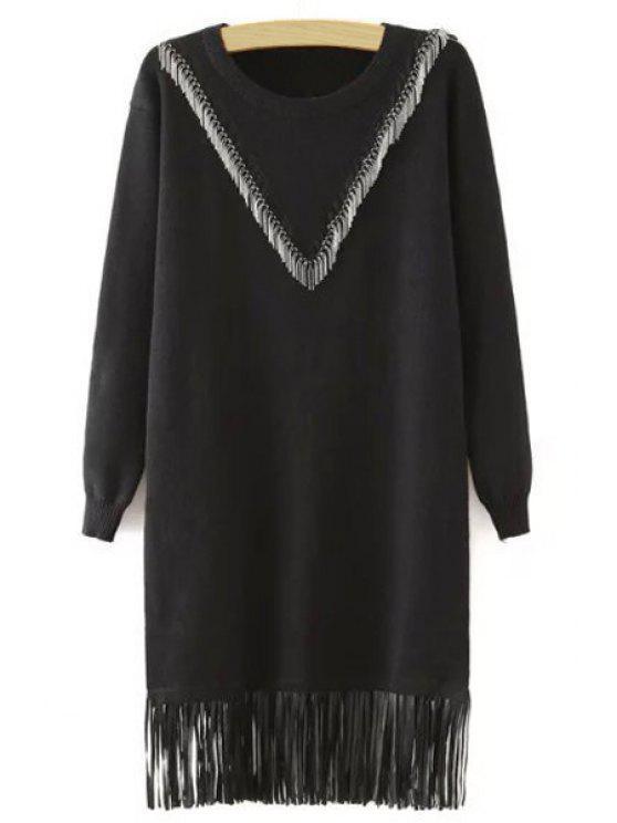 shop Fringes Spliced Long Sleeves Black Sweater Dress - BLACK M