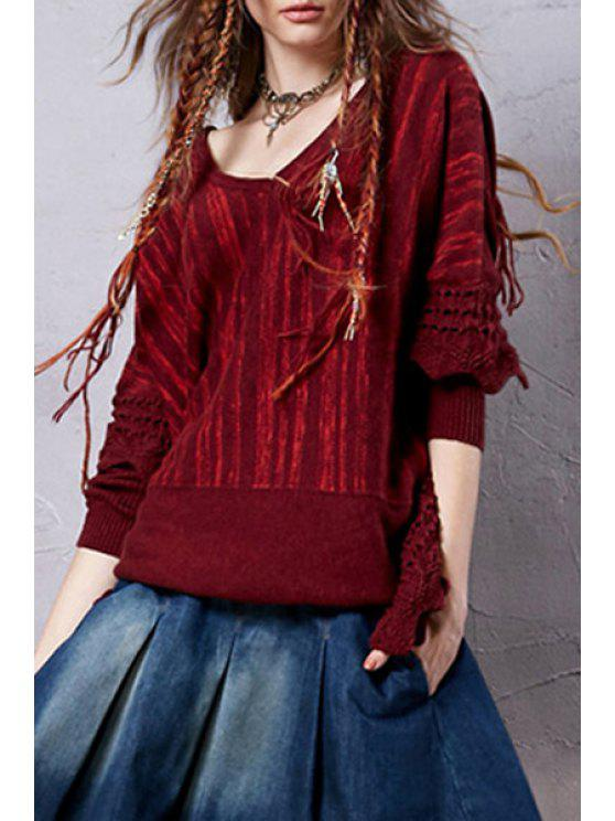 unique Wine Red V Neck Long Sleeve Jumper - WINE RED ONE SIZE(FIT SIZE XS TO M)