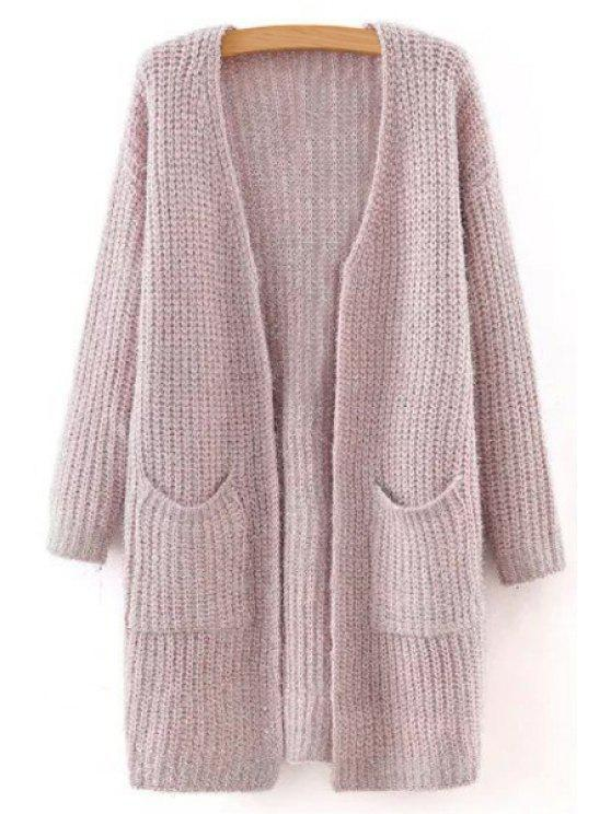 fancy Pure Color Collarless Long Sleeves Pocket Cardigan - PINK M