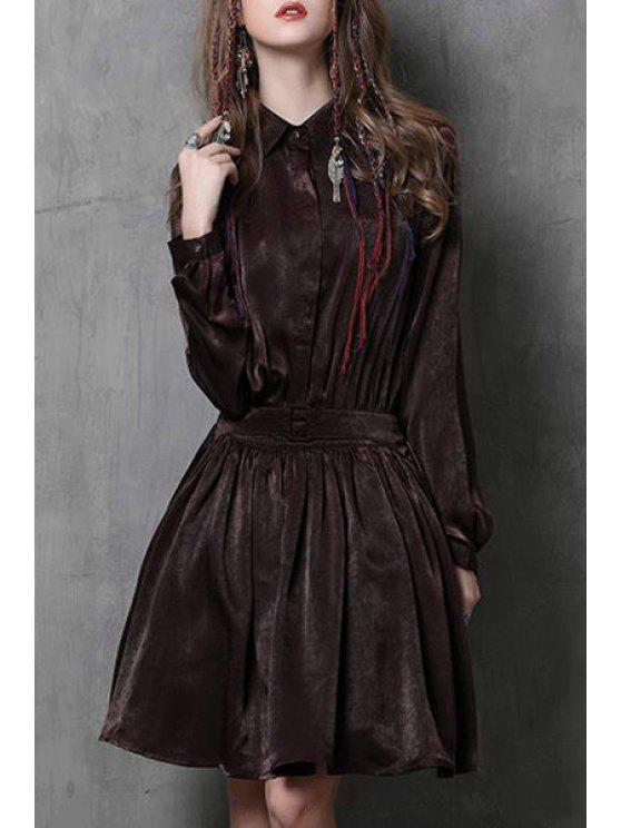 ladies Solid Color Turn Down Collar Long Sleeve Dress - COFFEE M