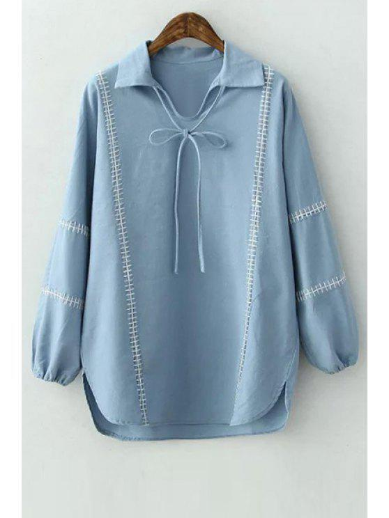 chic Blue Turn Down Collar Long Sleeve Lace Up Blouse - BLUE S