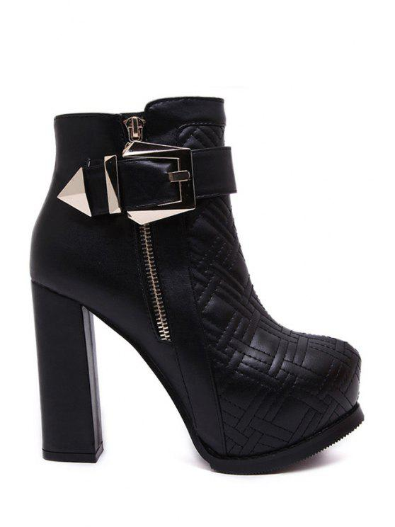 affordable Stitching Buckle Chunky Heel Short Boots - BLACK 35