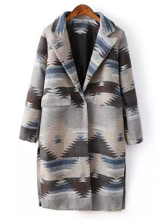 sale Geometric Pattern Lapel Long Sleeve Coat - GRAY ONE SIZE(FIT SIZE XS TO M)