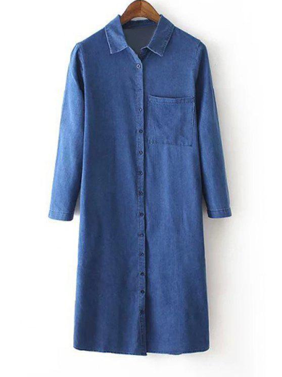 sale Denim Turn Down Collar Long Sleeve Maxi Shirt - BLUE S