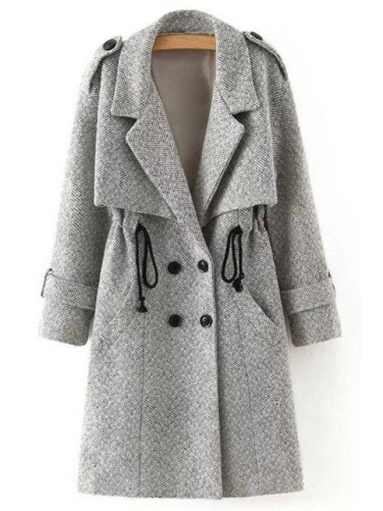 sale Gray Self-Tie Lapel Collar Long Sleeves Coat - GRAY L