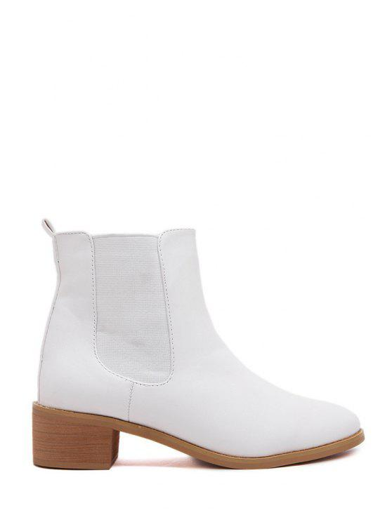 womens PU Leather Solid Color Elastic Short Boots - WHITE 35