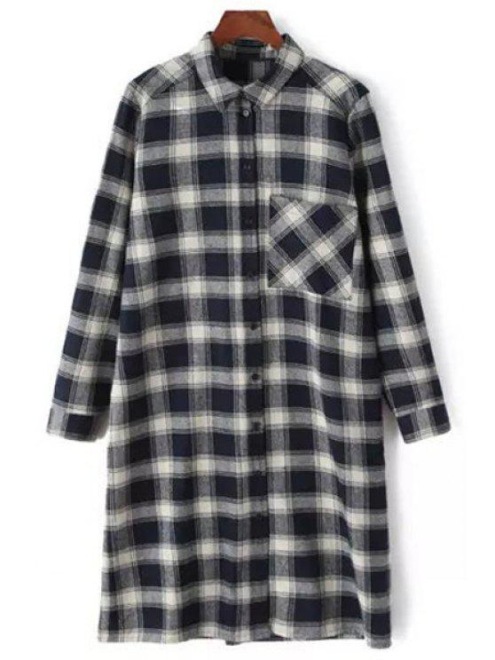 women Checked Thicken Flat Collar Long Sleeves Long Shirt - BLACK S