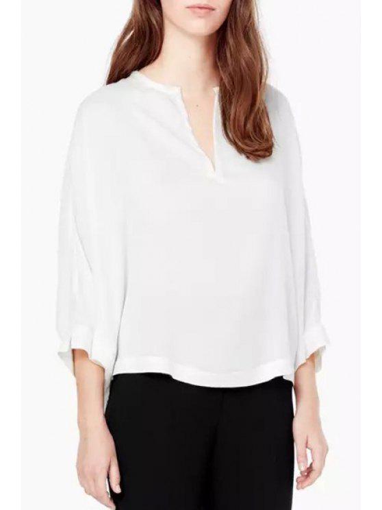 womens Flowers Print V Neck Long Sleeve Blouse - WHITE S