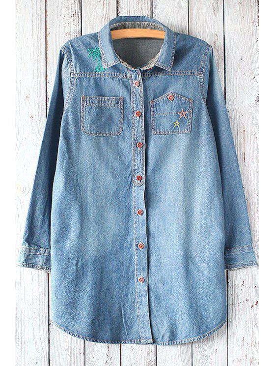 lady Embroidery Turn Down Collar Long Sleeve Shirt - BLUE ONE SIZE(FIT SIZE XS TO M)