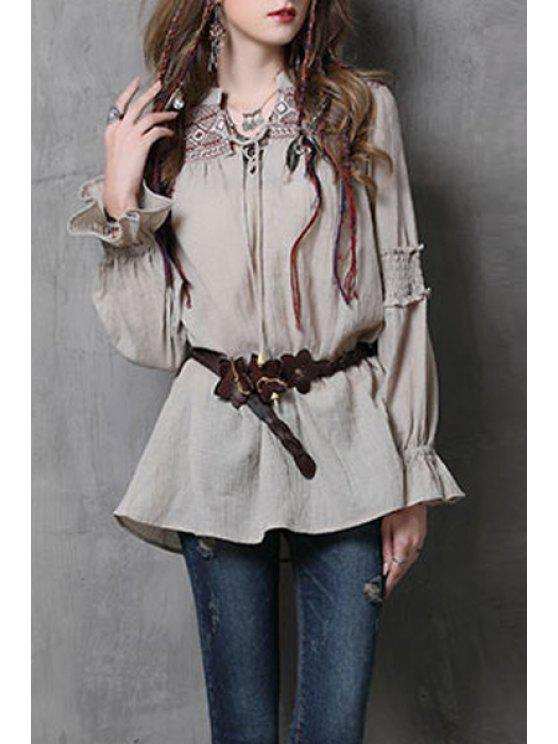 affordable Ruffle Sleeve Embroidered Blouse - KHAKI M