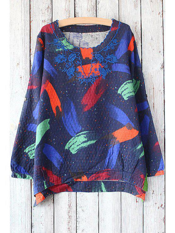 new Floral Embroidery Long Sleeve T-Shirt - BLUE ONE SIZE(FIT SIZE XS TO M)