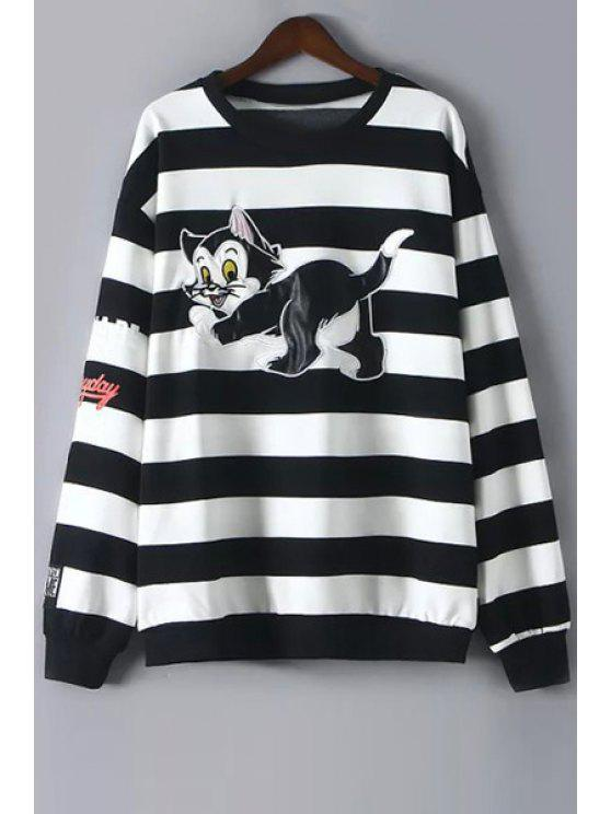 fashion Cartoon Print Long Sleeves Striped Sweatshirt - BLACK M