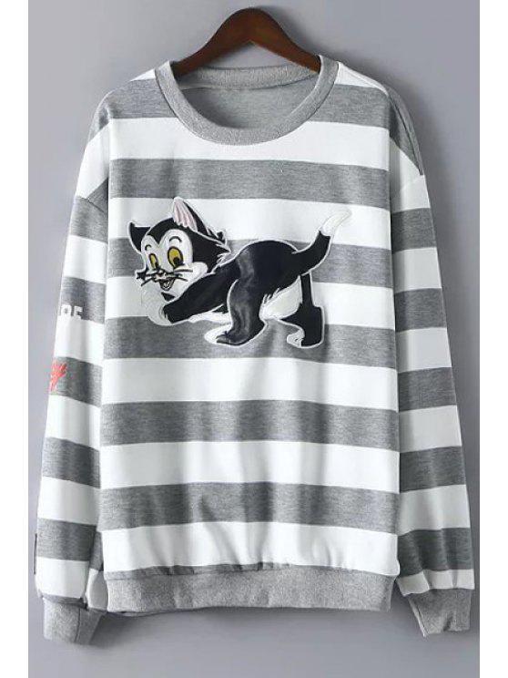 unique Cartoon Print Long Sleeves Striped Sweatshirt - GRAY L