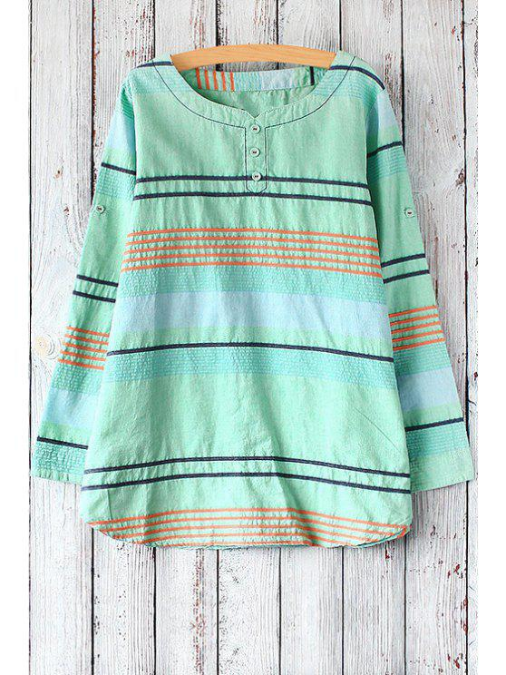 latest Colored Stripes Long Sleeve T-Shirt - LIGHT GREEN ONE SIZE(FIT SIZE XS TO M)