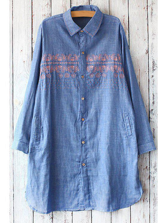 best Embroidery Linen Turn Down Collar Shirt - BLUE ONE SIZE(FIT SIZE XS TO M)