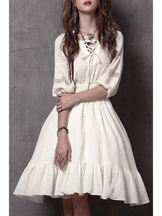 fashion Lace-Up Flouncing Swing Dress - WHITE L
