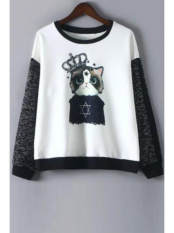 sale Cartoon Print Round Collar Long Sleeves Sweatshirt - WHITE M