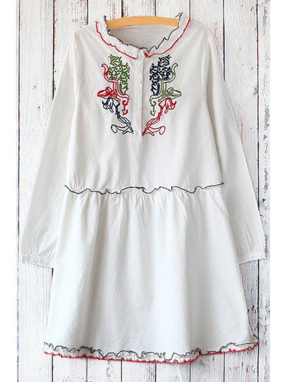 women Embroidered Stand Neck Long Sleeve Dress - WHITE ONE SIZE(FIT SIZE XS TO M)