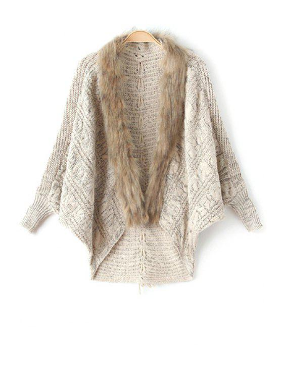 lady Faux Fur Collar Cape Sweater - KHAKI ONE SIZE(FIT SIZE XS TO M)