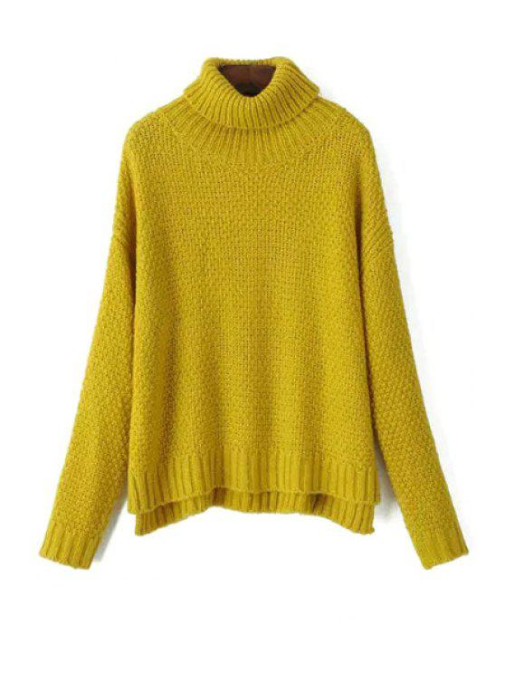 best Turtle Neck Side Slit Jumper - YELLOW ONE SIZE(FIT SIZE XS TO M)