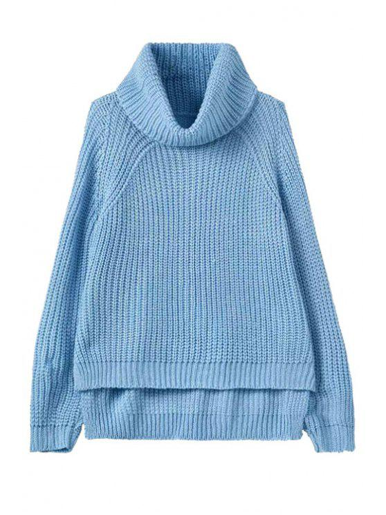 outfits Turtle Neck High Low Jumper - LIGHT BLUE ONE SIZE(FIT SIZE XS TO M)