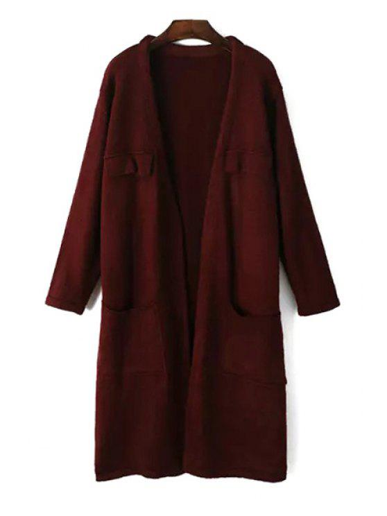 shops Pure Color Open Front Longline Cardigan - WINE RED ONE SIZE(FIT SIZE XS TO M)