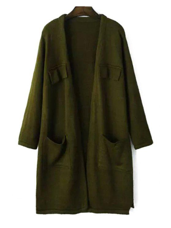shop Pure Color Open Front Longline Cardigan - GREEN ONE SIZE(FIT SIZE XS TO M)
