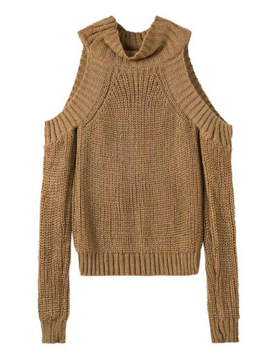trendy Turtle Neck Off-The-Shoulder Sweater - KHAKI ONE SIZE(FIT SIZE XS TO M)