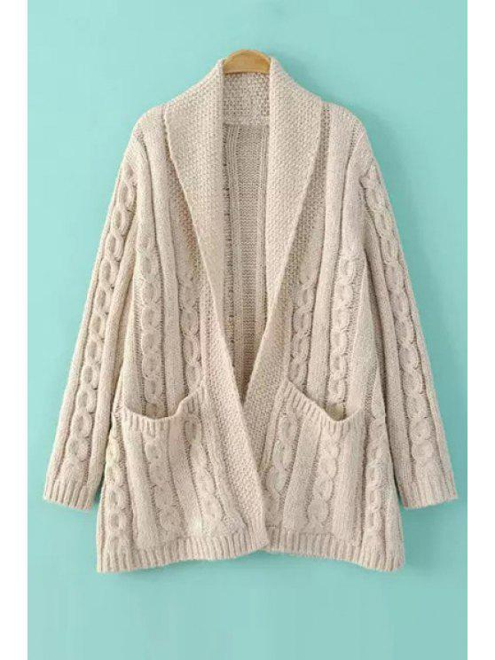 fashion Shawl Neck Cable Knit Cardigan - WHITE ONE SIZE(FIT SIZE XS TO M)