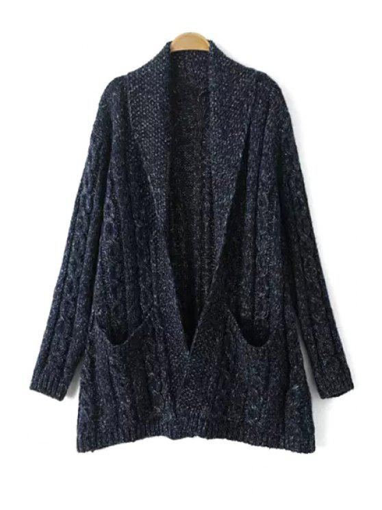 chic Shawl Neck Cable Knit Cardigan - CADETBLUE ONE SIZE(FIT SIZE XS TO M)