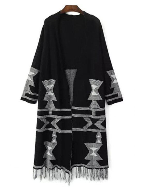 unique Tassels Jacquard Longline Cardigan - BLACK ONE SIZE(FIT SIZE XS TO M)