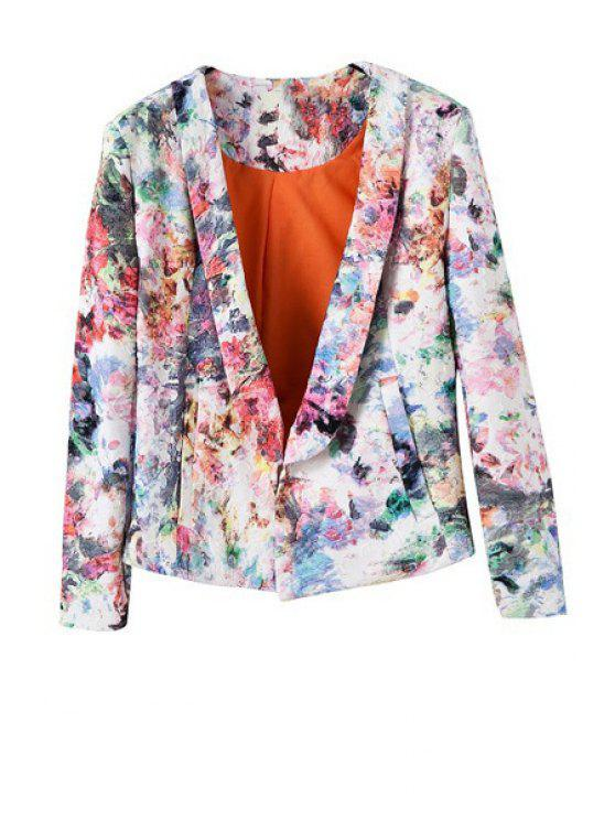 outfits Shawl Neck Floral Print Blazer - WHITE M