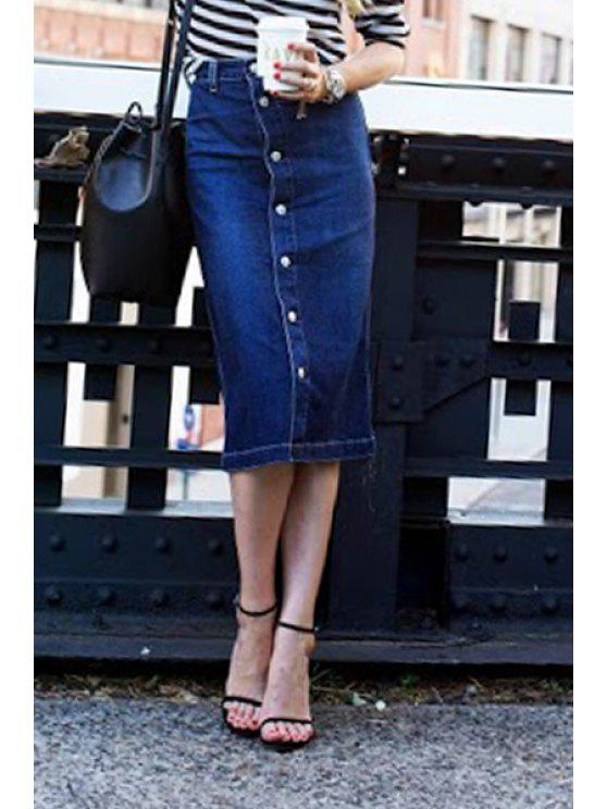 unique Denim Blue Single-Breasted Women's Skirt - BLUE S