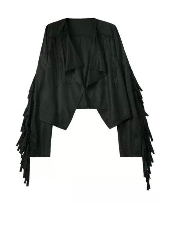 affordable Fringed Suede Waterfall Jacket - BLACK S