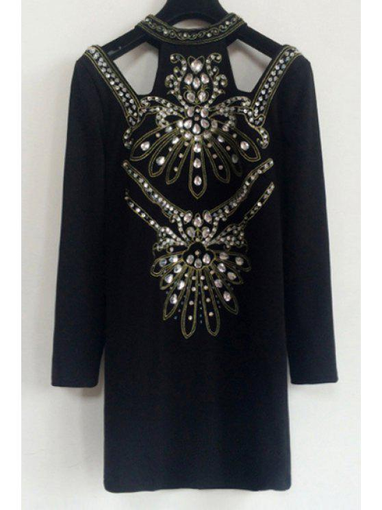 outfit Diamante Round Collar Long Sleeves Black Cut Out Dress - BLACK S