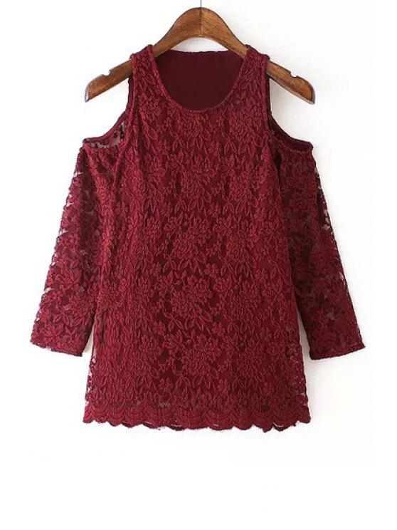 outfits 3/4 Sleeve Off-The-Shoulder Lace Blouse - WINE RED S