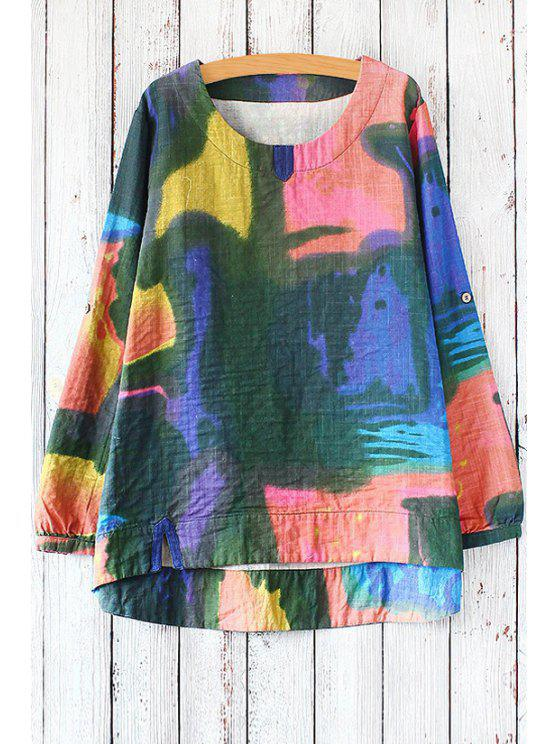 womens Colored Print Scoop Neck Long Sleeve Blouse - GREEN ONE SIZE(FIT SIZE XS TO M)