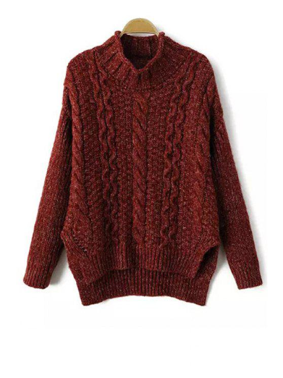 chic Turtle Neck Side Slit Cable Knit Sweater - WINE RED ONE SIZE(FIT SIZE XS TO M)