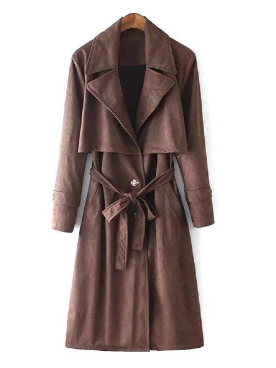 online Lapel Self-Tie Belt Suede Trench Coat - DUN S