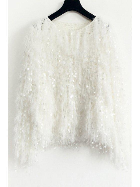 women Solid Color Mohair Fringes Long Sleeves Loose-Fitting Jumper - WHITE ONE SIZE(FIT SIZE XS TO M)