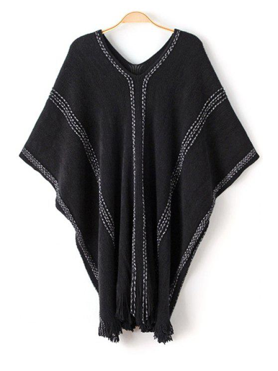 sale Batwing Sleeve Loose Fringed Sweater - BLACK ONE SIZE(FIT SIZE XS TO M)