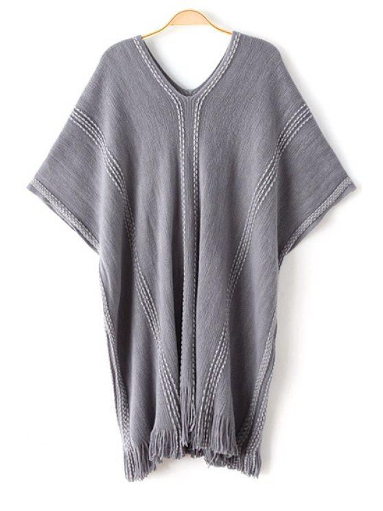 affordable Batwing Sleeve Loose Fringed Sweater - GRAY ONE SIZE(FIT SIZE XS TO M)