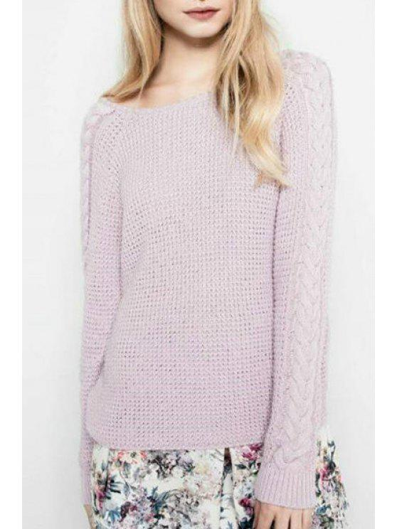 online Pure Color Cable-Knit Long Sleeve Pullover Sweater - PURPLE M