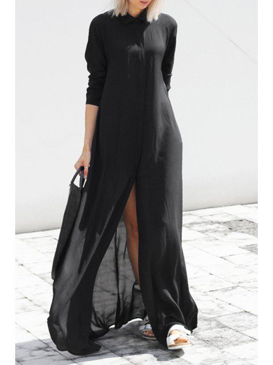 2019 Black Chiffon Flat Collar Long Sleeves Maxi Dress In Black Xl