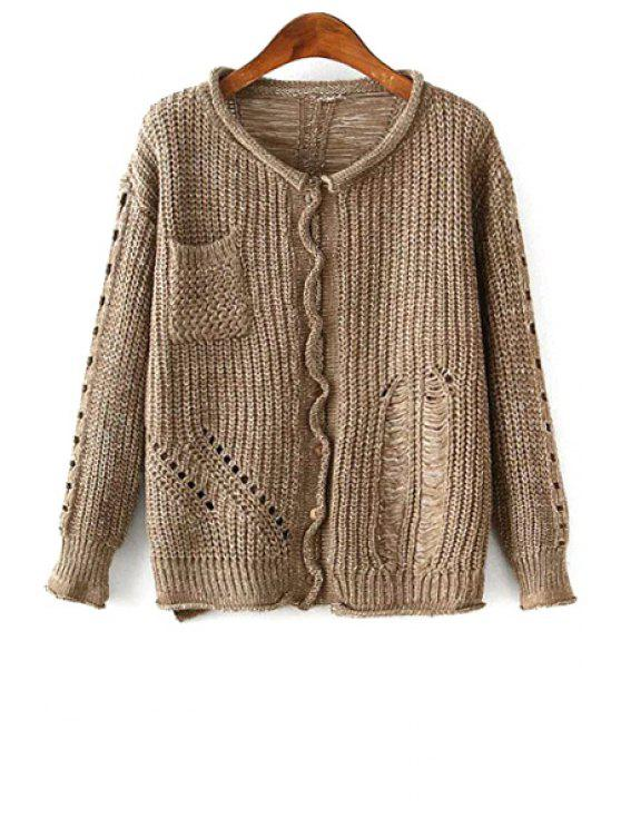women Openwork Single-Breasted Cardigan - KHAKI ONE SIZE(FIT SIZE XS TO M)