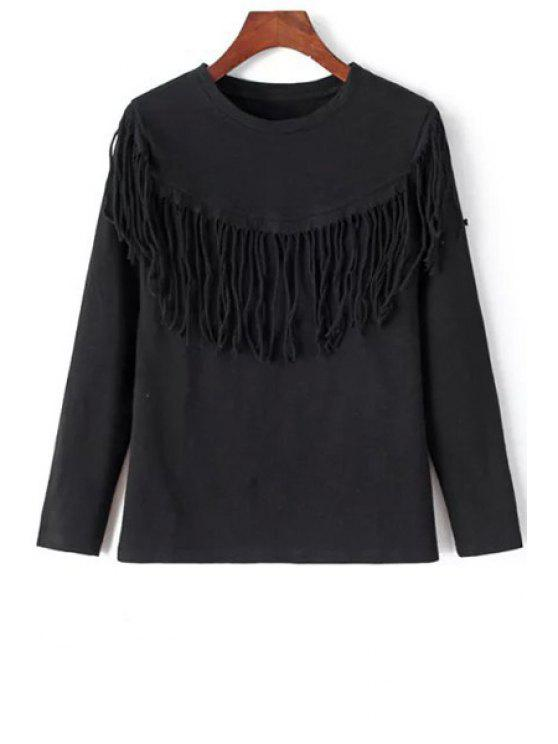online Tassels Round Neck Long Sleeve T-Shirt - BLACK M